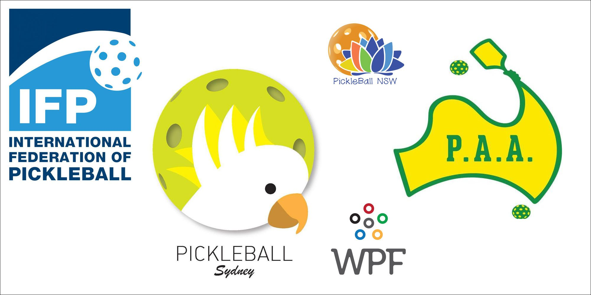 Logos of Pickleball NSW (PANSW), Pickleball Australia (PAA), Pickleball Sydney, International Federation of Pickleball (IFP) and World Pickleball Federation (WPF).